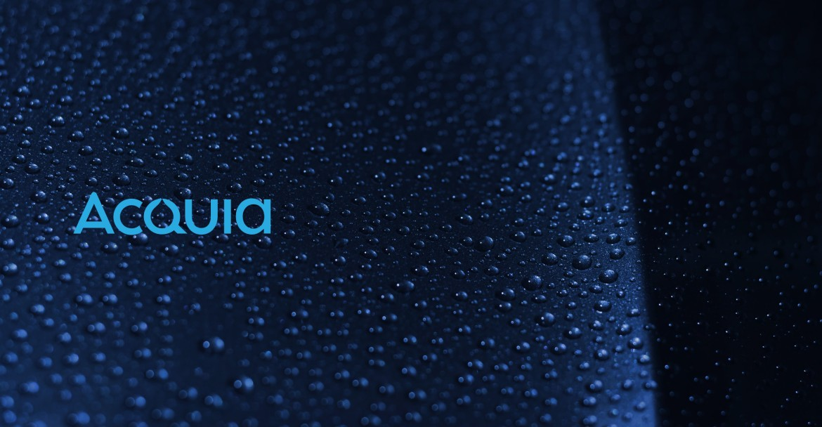 A photo of water drops and an Acquia logo