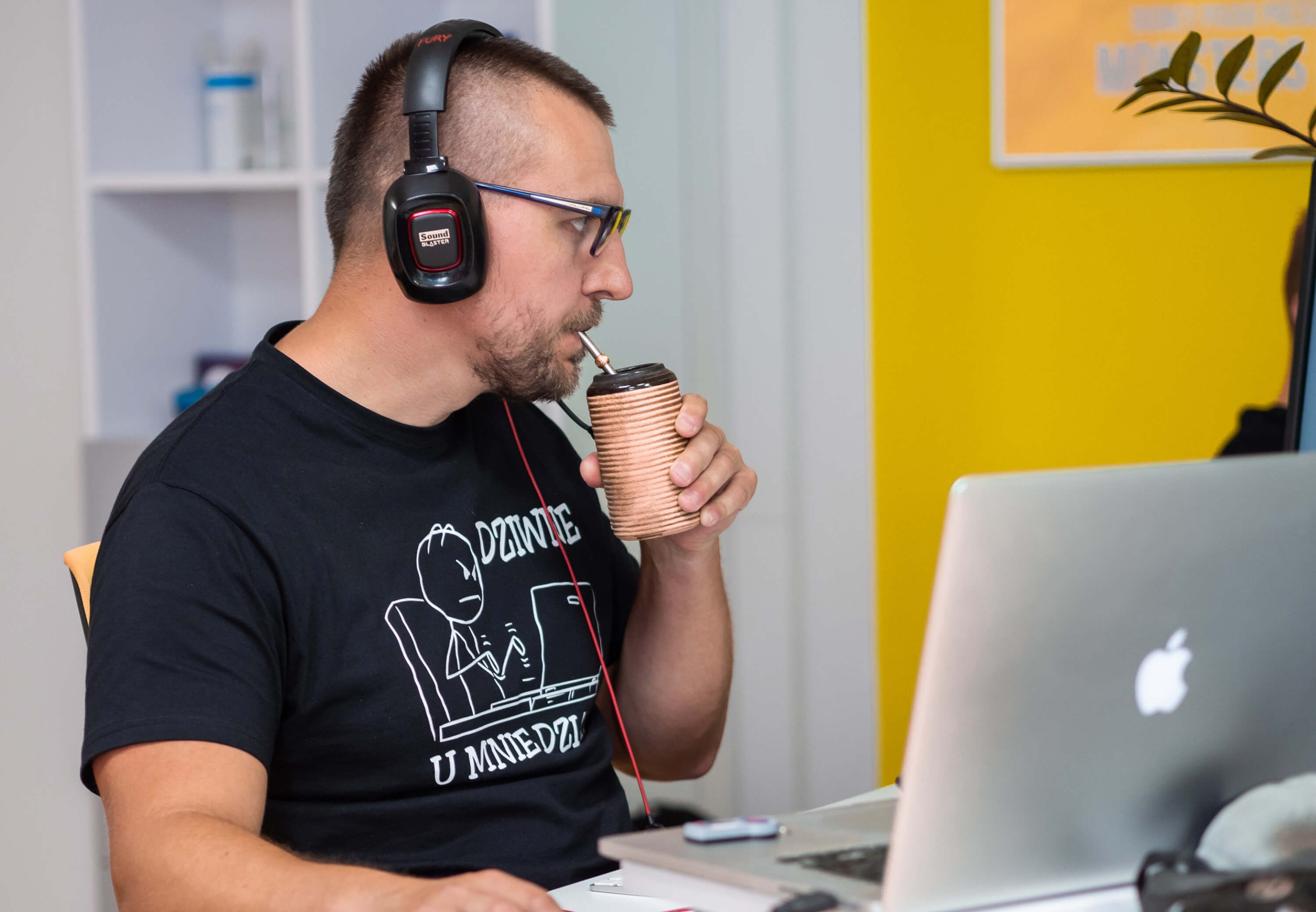 A photo of software developer at computer